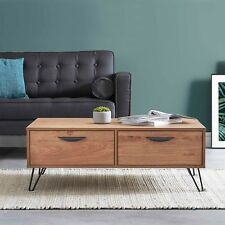 VonHaus Capri Coffee Table 2 Soft Close Drawers Oak-Effect Finish Living Room