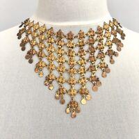 Antique Vintage Necklace Neo Victorian Ethnic Steampunk Gold Tone Bib Collar