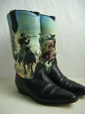Seychelles Vintage Cowboy Canvas Painted Black Southwestern Boots size 8
