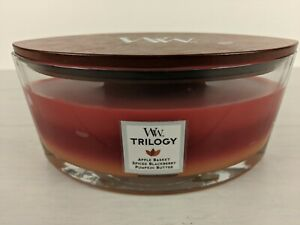 Woodwick Trilogy Hearthwick Flame 16 Oz. Candle. Apple, Blackberry, Pumpkin