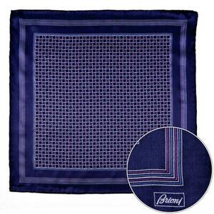 $150 New BRIONI Navy Pink Swirl Silk Hand Rolled Pocket Square Handkerchief