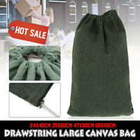 Green Canvas Drawstring Large Bag Pouch Clothes Storage Home Laundry Pack 4 Size