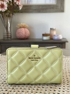 NWT Kate Spade Natalia Quilted Leather Medium Compact Bifold Wallet Frosty Lime