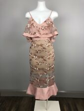 VENUS Womens 10 Pink Embroidered Ruffled Midi Cocktail Party Sheath Dress