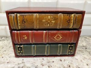 Faux Book Storage Boxes Vintage Look Fake Stack of three books; Three Hands Corp