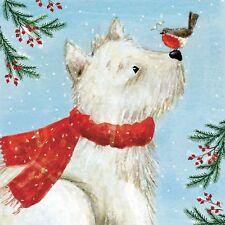 10 x Westie & Robin Christmas Cards for Royal Trinity Hospice Charity Dog & Bird