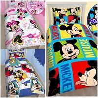 REVERSIBLE DISNEY MICKEY Mouse Single Duvet Cover Bedding Set Girl Boys Kid Bed