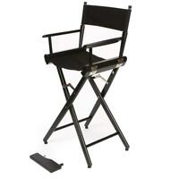 """Filmcraft Pro Series 30"""" Tall Director Chair - Black with Black Canvas #1251908"""
