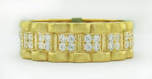 WHITE SAPPHIRES ETERNITY ROLEX STYLE RING 10K GOLD * FREE SHIPPING *New With Tag