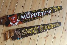Cartoon Rusty Vintage Long Saw Sign Plaque Bar Shop Man Cave Tattoo Barber Pub