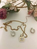 Avon Necklace And Pierced Earrings Set