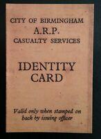 IDENTITY CARD CITY OF BIRMINGHAM A.R.P. CASUALTY SERVICES, WORLD WAR II SOUVENIR