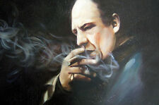 Tony Soprano oil painting 28x16 unframed Sopranos Godfather Goodfellas Scarface