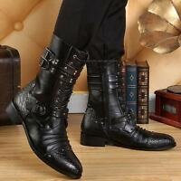 Punk Mens Lace Up Faux Leather Pointed Toe  Combat Mid Calf Boots Shoes#Hot Sz