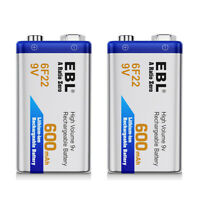 2PCs 600mAh 9V Li-ion Rechargeable Batteries 6F22 9-Volt Battery High Capacity