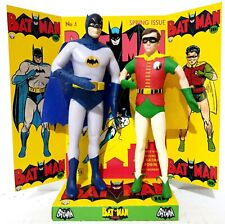 "🦇Bendable 6"" BATMAN & ROBIN Action Figures on Custom No.1 COMIC Display Diorama"