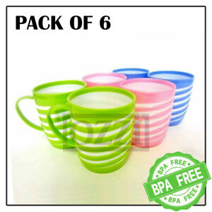 6x Reusable Striped COLOURFUL PLASTIC MUGS Drinking Cups Tea Coffee Camping Kids