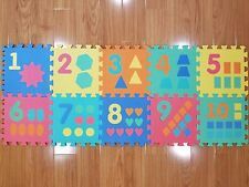 EVA Non-Toxic Foam 10 Piece Puzzle Baby Toddler Play Mat Numbers Shapes 12 x 12