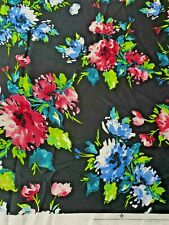 Black/Pink/Blue/Green Floral Print Satin Dress/Trousers/Top Fabric- A63