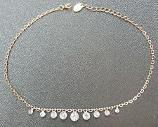 "*ALDO* GOLD COLOR FASHION NECKLACE w/FAKE DIAMONDS 15""/40cm LONG"