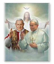 POPE JOHN & JOHN PAUL CANVAS PICTURE - STATUES, CANDLES, CRUCIFIXES ALSO LISTED