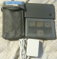 Nintendo DSi Black w5 games, charger, stylus, game case, and travel case