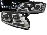 Coppia di Fari Anteriori LED DRL Look per VW PASSAT B7 2010-2014 Daylight Neri I