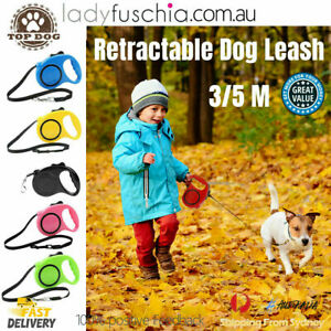 3/5M Retractable Dog Lead Leash Long Stong Extendable Lockable Rope Heavy Duty