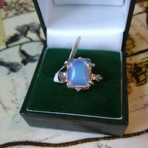 Lovely Art Deco Faux Opalite Sea Opal Silver Tone Ring, New with tags Size R 1/2