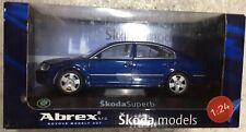 1:24 Scale Abrex Skoda Superb Mk1 Saloon Blue Diecast Model Car