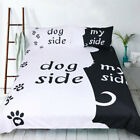 Lover Couple Bedding Set Black / White Duvet Quilt Doona Cover With Pillow Case