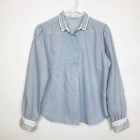 Vintage Levi Strauss Womens Prairie Blouse Blue White Pinstripe Puff Sleeve Top