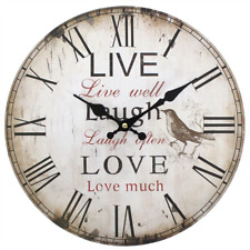 Wall Clock Rustic Cream Live Laugh Love Design 34cm Diameter