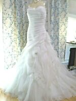 Casablanca Bridal Wedding Dress Size 18 Style 2105 IVORY Silver Feather Flowers
