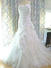 Casablanca Bridal Wedding Dress Size 18 Style 2105 IVORY Silver Feather Flowers
