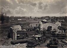 US American Civil War Atlanta Georgia Rail Yard Trains Wagons 11x8 Inch Photo