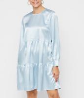 PIECES (UK Size 14-16) Satin Blue Boho Midi Summer Dress Tiered Panel Smock