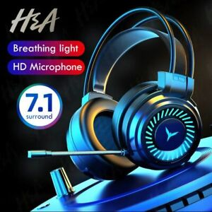 Gamer Headphones Gaming Headset Surround Stereo Mic LED Earphone For PC PS4 Xbox