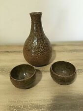 Vintage Hand thrown Earthenware Pottery Japanese Sake Set with 2 cups brown tan
