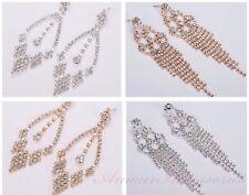 Long Drop Crystal Diamante Tassel Chandelier Gold/Silver Dangle Party Earrings