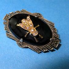 Vintage Art Deco Insect Pin Brooch Onyx Pearl Marcasites HB Germany 925, 14K