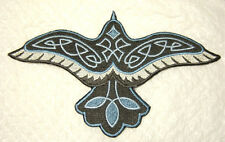 """CELTIC RAVEN Large Embroidered Iron On Patch 7.5"""" x 4.5""""  MADE in USA -FREE SHIP"""