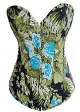 NEW GREEN DENIM FLORAL SIZE S-M-L-XL SWEETHEART NECKLINE HOOK&EYE/LACE UP CORSET