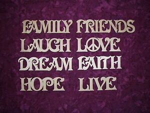 Faith Hope Live Family Love Hope Dream Wooden Words Unfinished Wood Cutouts