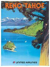 "Art Reno Lake Tahoe Travel Poster Vintage Rare Hot New Original 12x16"" TR73"