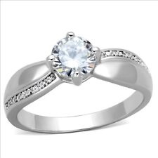 925 STERLING SILVER RHODIUM PLATED ENGAGEMENT RING RHODIUM PLATED SZ J USA 5
