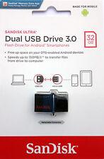 SanDisk 32GB 150MBs Dual OTG USB 3.0 Flash Drive Memory Stick For Samsung phone