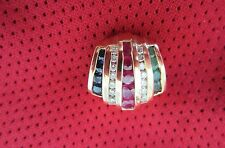 14K Ruby, Emerald, Sapphire & Diamond Slide Pendant--No chain--Mint