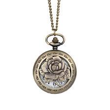 Vintage Antique Rose Flower Quartz Necklace Pendant Chain Fob Pocket Watch Gift