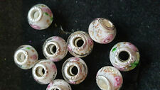 10 LIGHT WHITE GLASS BEADS WITH PINK ROSES
